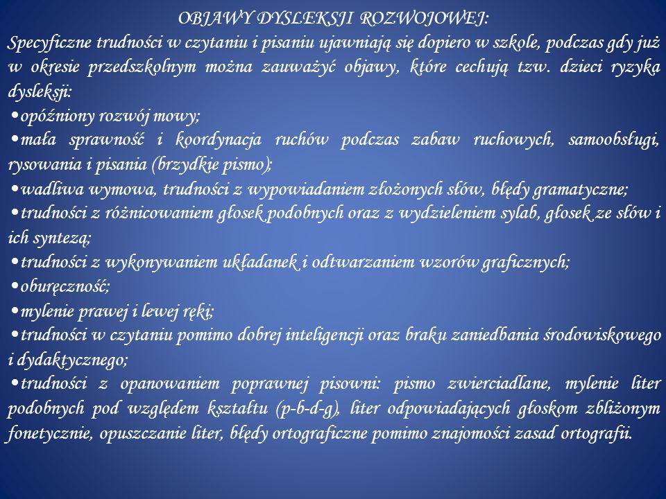 SYMPTOMY DYSLEKSJI U GIMNAZJALISTÓW