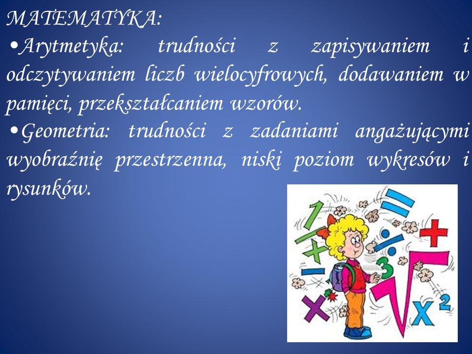 BIOLOGIA: Trudności z opanowaniem terminologii, systematyki, zapamiętaniem i zapisem reakcji biochemicznych, z organizacją przestrzenną schematów i rysunków.