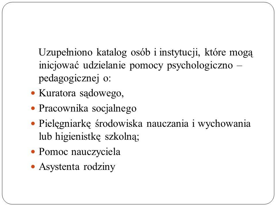 Uzupełniono katalog osób i instytucji, które mogą inicjować udzielanie pomocy psychologiczno – pedagogicznej o: Kuratora sądowego, Pracownika socjalne