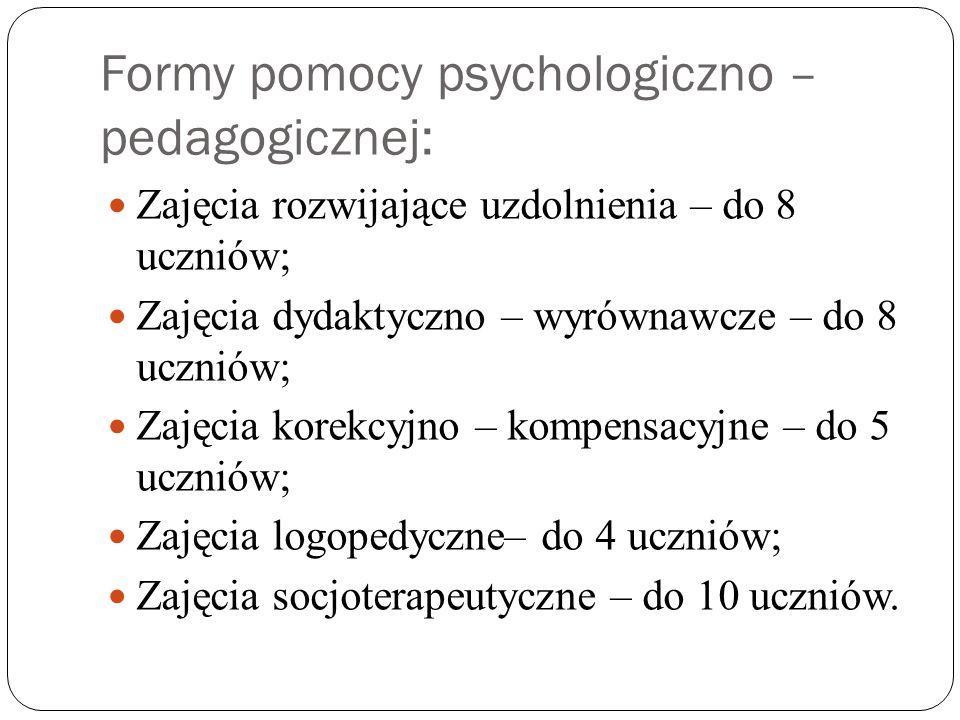 Formy pomocy psychologiczno – pedagogicznej: Zajęcia rozwijające uzdolnienia – do 8 uczniów; Zajęcia dydaktyczno – wyrównawcze – do 8 uczniów; Zajęcia