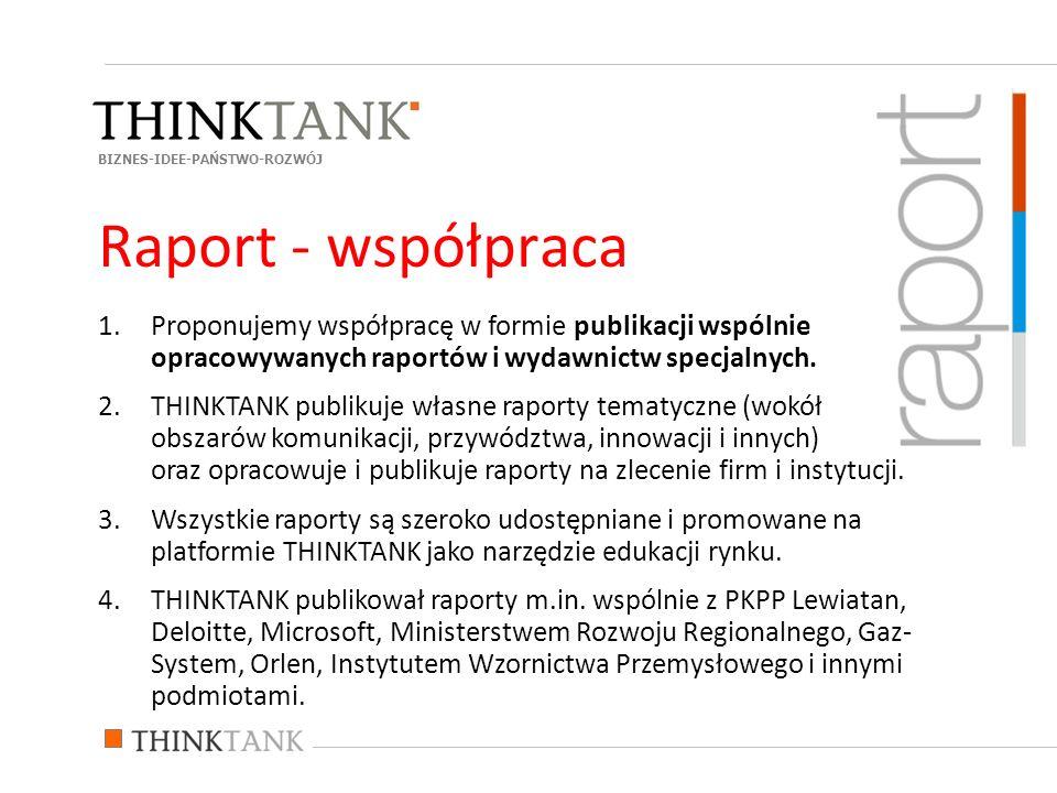 1.Proponujemy współpracę w formie publikacji wspólnie opracowywanych raportów i wydawnictw specjalnych.