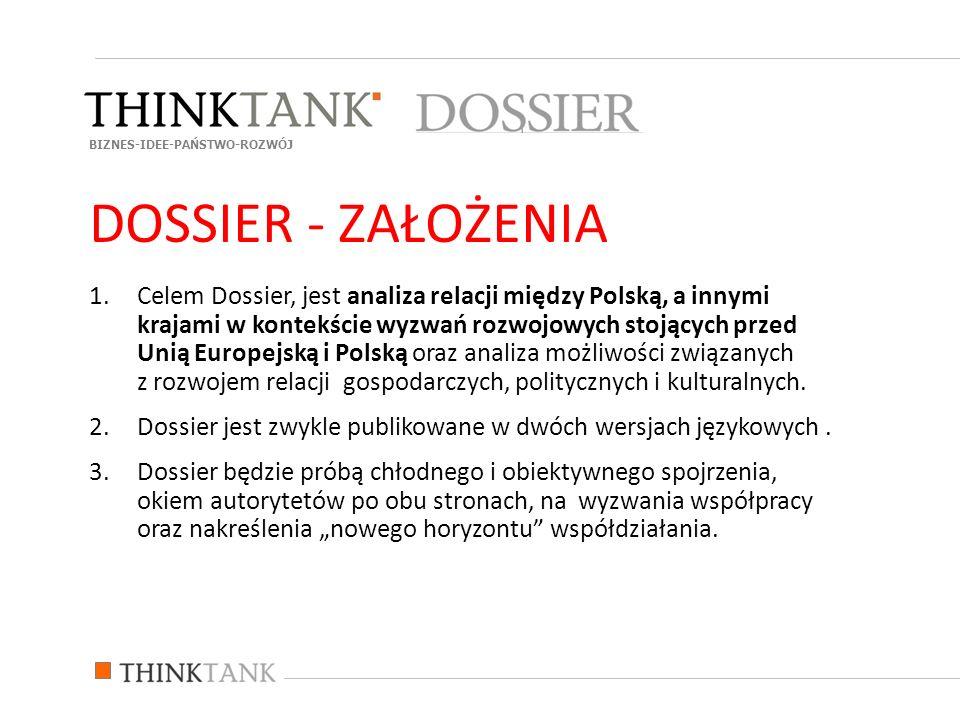 1.Celem Dossier, jest analiza relacji między Polską, a innymi krajami w kontekście wyzwań rozwojowych stojących przed Unią Europejską i Polską oraz an