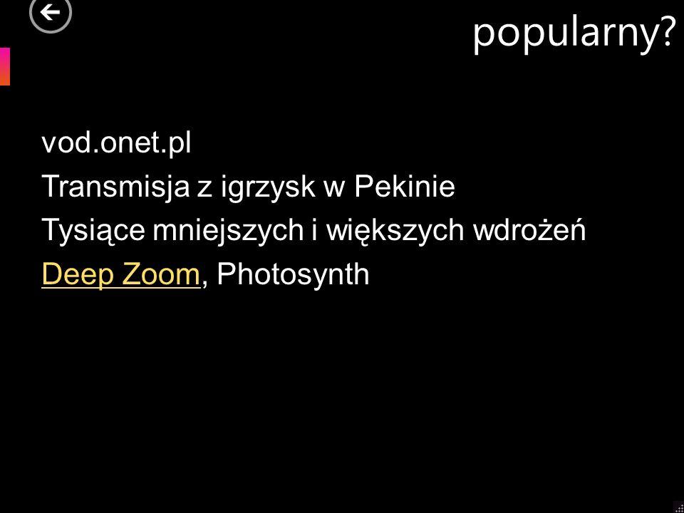 popularny? vod.onet.pl Transmisja z igrzysk w Pekinie Tysiące mniejszych i większych wdrożeń Deep ZoomDeep Zoom, Photosynth