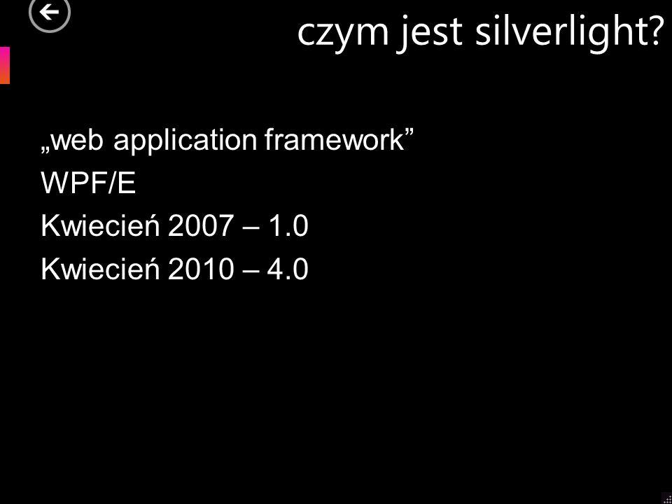 czym jest silverlight? web application framework WPF/E Kwiecień 2007 – 1.0 Kwiecień 2010 – 4.0