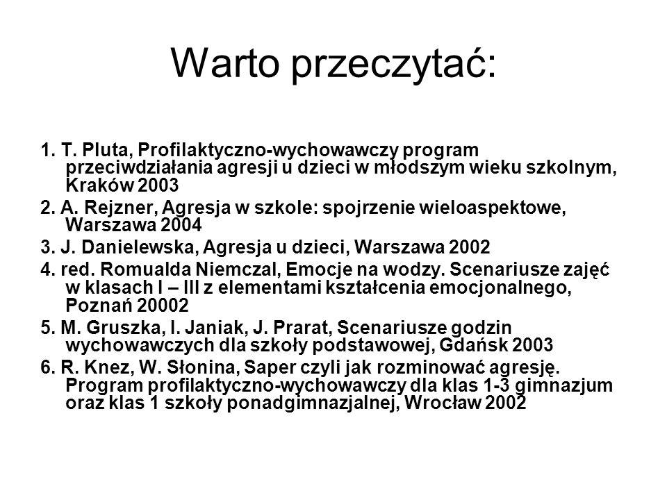 Warto przeczytać: 1. T. Pluta, Profilaktyczno-wychowawczy program przeciwdziałania agresji u dzieci w młodszym wieku szkolnym, Kraków 2003 2. A. Rejzn