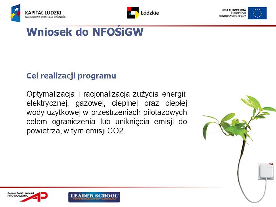 Wniosek do NFOŚiGW Cel realizacji programu Optymalizacja i racjonalizacja zużycia energii: elektrycznej, gazowej, cieplnej oraz ciepłej wody użytkowej