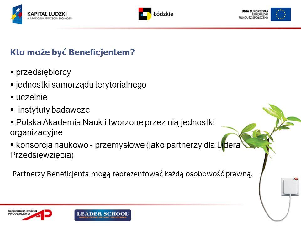 Kto może być Beneficjentem? przedsiębiorcy jednostki samorządu terytorialnego uczelnie instytuty badawcze Polska Akademia Nauk i tworzone przez nią je