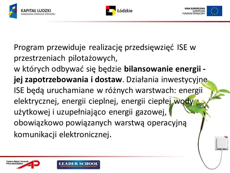Program przewiduje realizację przedsięwzięć ISE w przestrzeniach pilotażowych, w których odbywać się będzie bilansowanie energii - jej zapotrzebowania