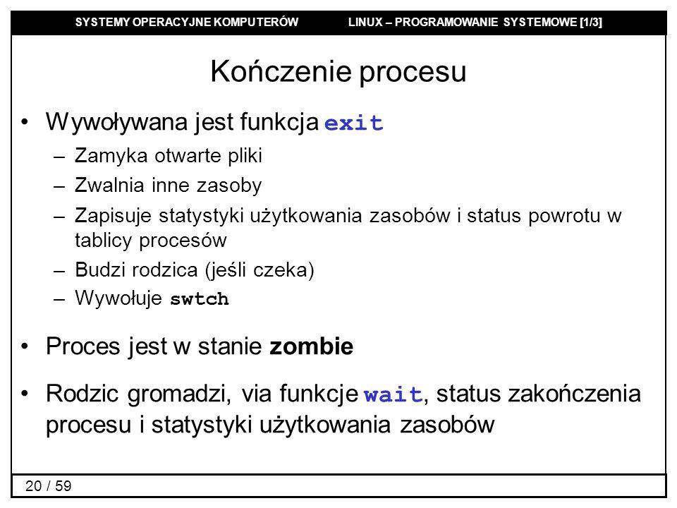 SYSTEMY OPERACYJNE KOMPUTERÓW LINUX – PROGRAMOWANIE SYSTEMOWE [1/3] 20 / 59 Kończenie procesu Wywoływana jest funkcja exit –Zamyka otwarte pliki –Zwal