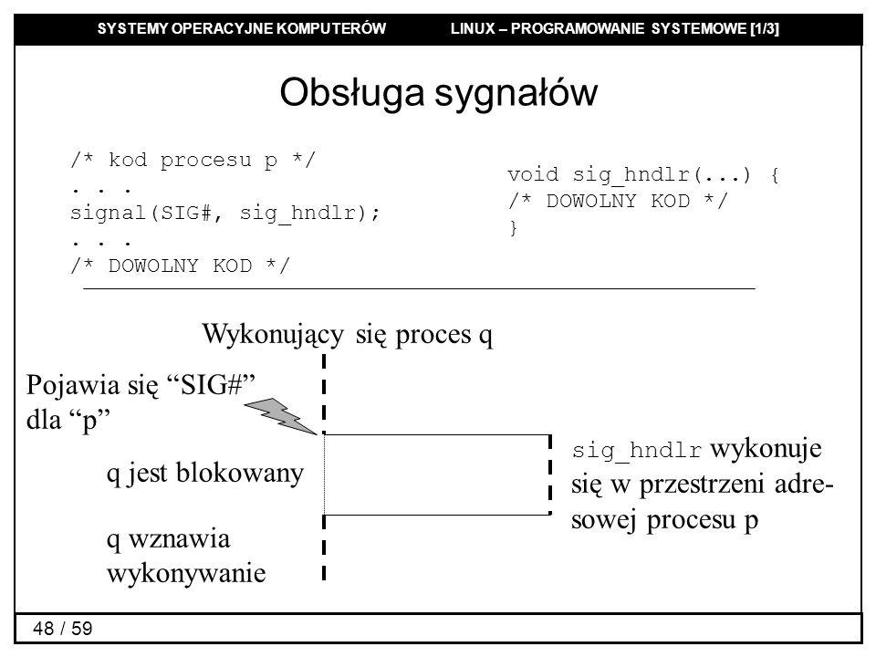 SYSTEMY OPERACYJNE KOMPUTERÓW LINUX – PROGRAMOWANIE SYSTEMOWE [1/3] 48 / 59 Obsługa sygnałów /* kod procesu p */... signal(SIG#, sig_hndlr);... /* DOW