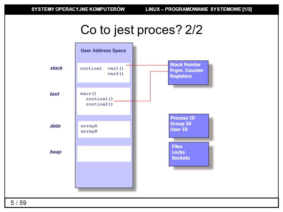 SYSTEMY OPERACYJNE KOMPUTERÓW LINUX – PROGRAMOWANIE SYSTEMOWE [1/3] 26 / 59 Czas działania procesu #include clock_t times(struct tms *buf); Zwraca zużyty czas zegarowy liczony w taktach zegara struct tms { clock_t tms_utime; /* user time */ clock_t tms_stime; /* system time */ clock_t tms_cutime; /* user time of children */ clock_t tms_cstime; /* system time of children */ };