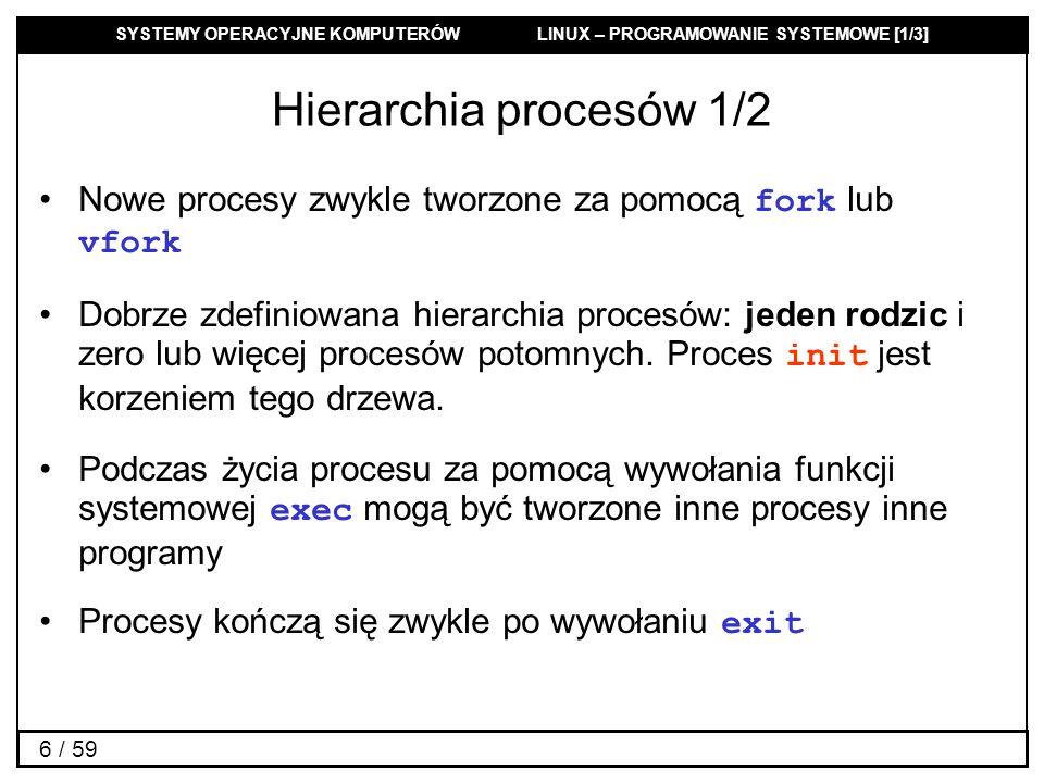 SYSTEMY OPERACYJNE KOMPUTERÓW LINUX – PROGRAMOWANIE SYSTEMOWE [1/3] 27 / 59 Tworzenie nowego procesu: fork 1/2 #include pid_t fork(void); Funkcja tworzy proces potomny różniący się zasadniczo od procesu macierzystego jedynie wartościami PID i PPID.