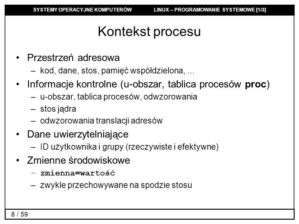 SYSTEMY OPERACYJNE KOMPUTERÓW LINUX – PROGRAMOWANIE SYSTEMOWE [1/3] 59 / 59 Zbiory sygnałów #include int sigemptyset(sigset_t *set); Funkcja ustawia pusty zbiór sygnałów set int sigfillset(sigset_t *set); Funkcja ustawia kompletny zbiór sygnałów set int sigaddset(sigset_t *set, int signum); Funkcja dodaje do zbioru sygnałów set sygnał signum int sigdelset(sigset_t *set, int signum); Funkcja usuwa ze zbioru sygnałów set sygnał signum int sigismember(const sigset_t *set, int signum); Funkcja sprawdza czy sygnał signum jest zawarty w zbiorze set.
