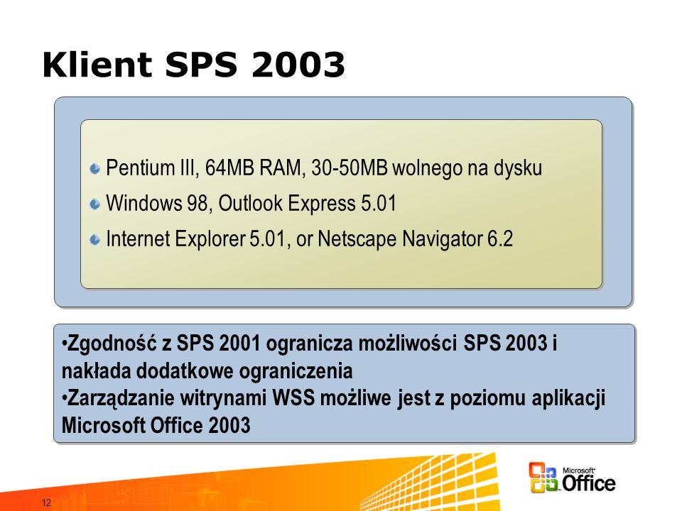 12 Klient SPS 2003 Zgodność z SPS 2001 ogranicza możliwości SPS 2003 i nakłada dodatkowe ograniczenia Zarządzanie witrynami WSS możliwe jest z poziomu