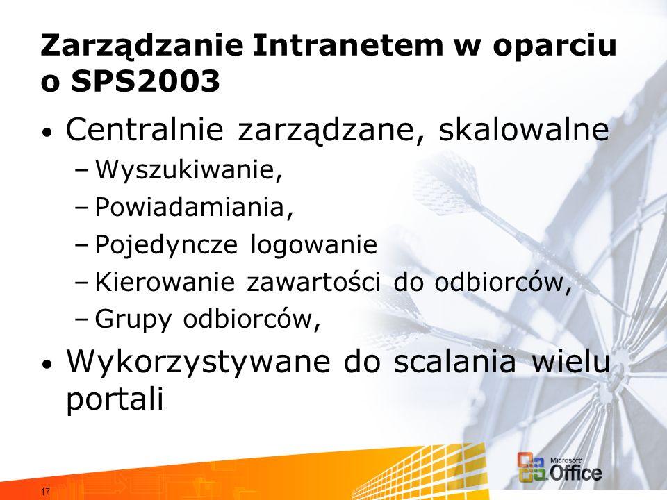 17 Zarządzanie Intranetem w oparciu o SPS2003 Centralnie zarządzane, skalowalne –Wyszukiwanie, –Powiadamiania, –Pojedyncze logowanie –Kierowanie zawar