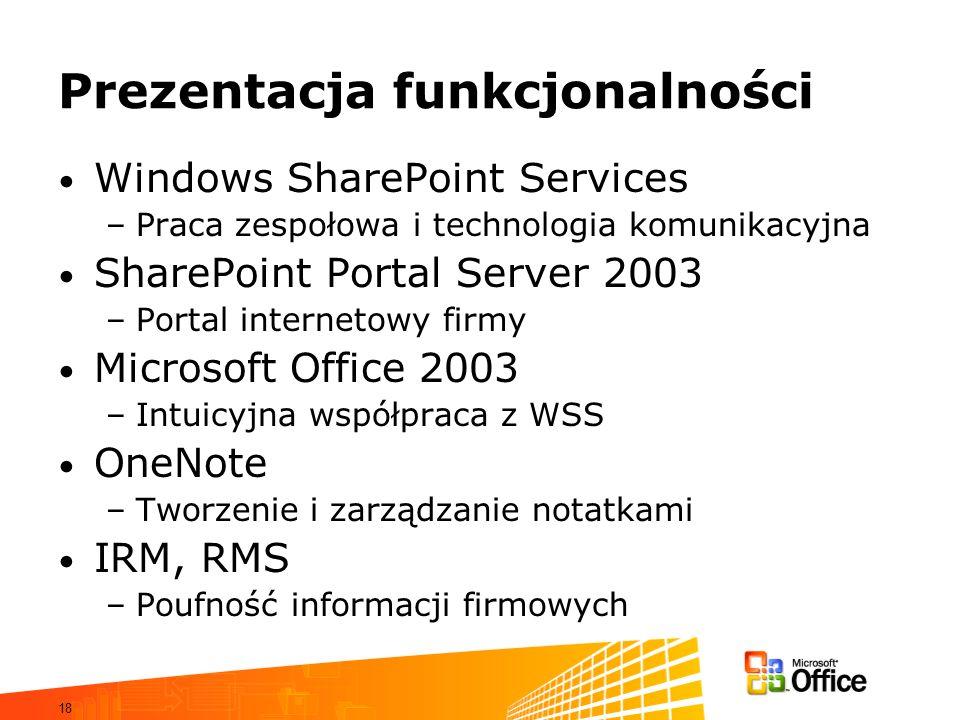 18 Prezentacja funkcjonalności Windows SharePoint Services –Praca zespołowa i technologia komunikacyjna SharePoint Portal Server 2003 –Portal internet
