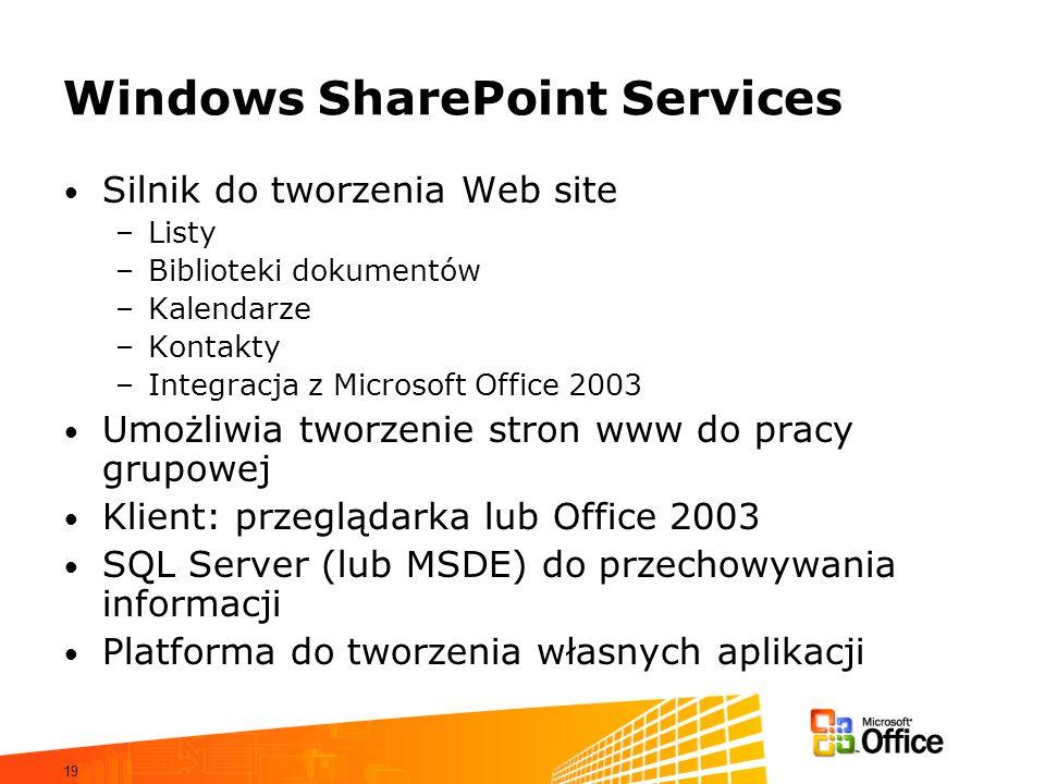 19 Windows SharePoint Services Silnik do tworzenia Web site –Listy –Biblioteki dokumentów –Kalendarze –Kontakty –Integracja z Microsoft Office 2003 Um