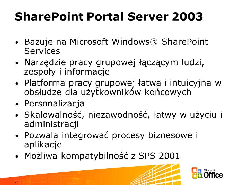 21 SharePoint Portal Server 2003 Bazuje na Microsoft Windows® SharePoint Services Narzędzie pracy grupowej łączącym ludzi, zespoły i informacje Platfo