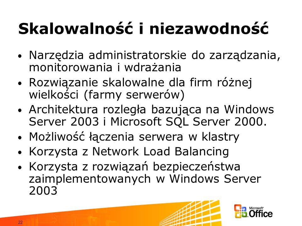 22 Skalowalność i niezawodność Narzędzia administratorskie do zarządzania, monitorowania i wdrażania Rozwiązanie skalowalne dla firm różnej wielkości