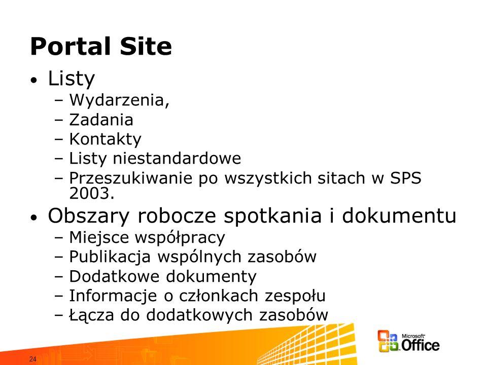24 Portal Site Listy –Wydarzenia, –Zadania –Kontakty –Listy niestandardowe –Przeszukiwanie po wszystkich sitach w SPS 2003. Obszary robocze spotkania