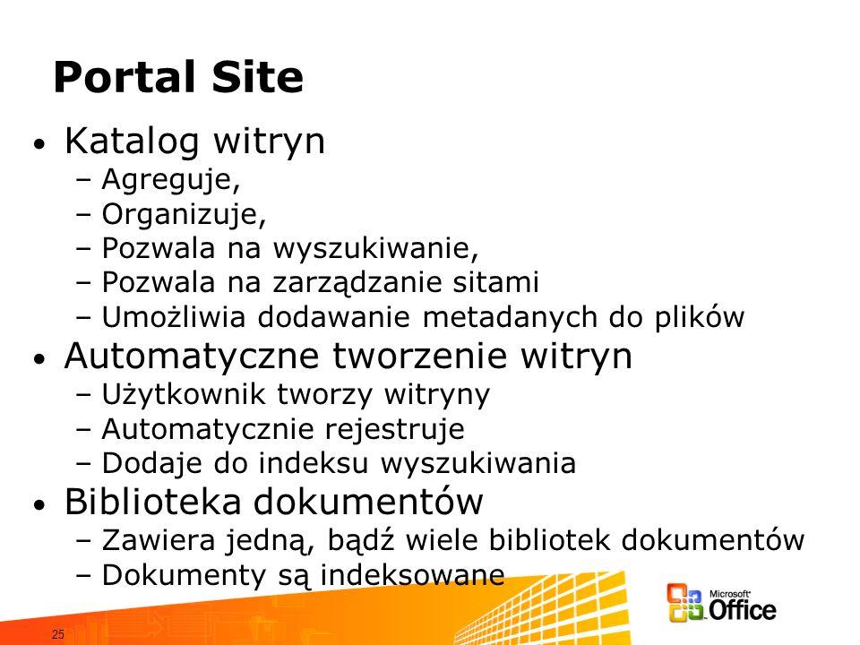25 Portal Site Katalog witryn –Agreguje, –Organizuje, –Pozwala na wyszukiwanie, –Pozwala na zarządzanie sitami –Umożliwia dodawanie metadanych do plik