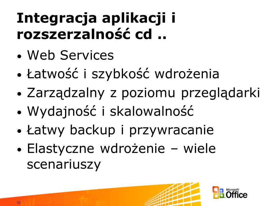 30 Integracja aplikacji i rozszerzalność cd.. Web Services Łatwość i szybkość wdrożenia Zarządzalny z poziomu przeglądarki Wydajność i skalowalność Ła