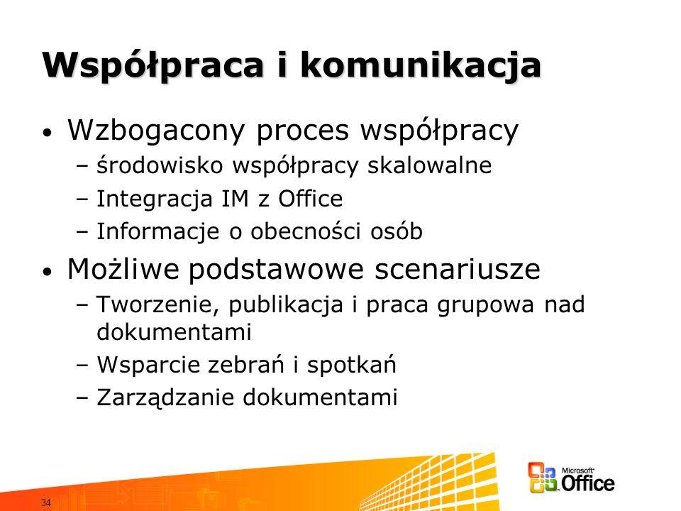 34 Współpraca i komunikacja Wzbogacony proces współpracy –środowisko współpracy skalowalne –Integracja IM z Office –Informacje o obecności osób Możliw