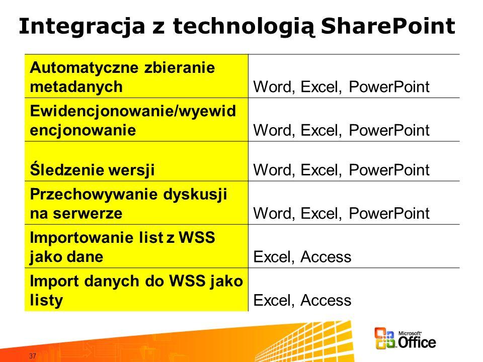 37 Integracja z technologią SharePoint Automatyczne zbieranie metadanychWord, Excel, PowerPoint Ewidencjonowanie/wyewid encjonowanieWord, Excel, Power