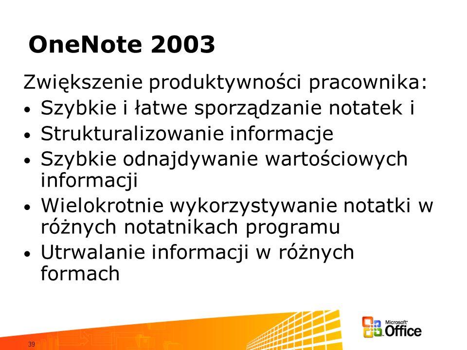 39 OneNote 2003 Zwiększenie produktywności pracownika: Szybkie i łatwe sporządzanie notatek i Strukturalizowanie informacje Szybkie odnajdywanie warto