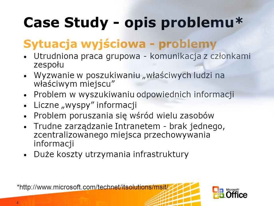 4 Case Study - opis problemu* Sytuacja wyjściowa - problemy Utrudniona praca grupowa - komunikacja z członkami zespołu Wyzwanie w poszukiwaniu właściw