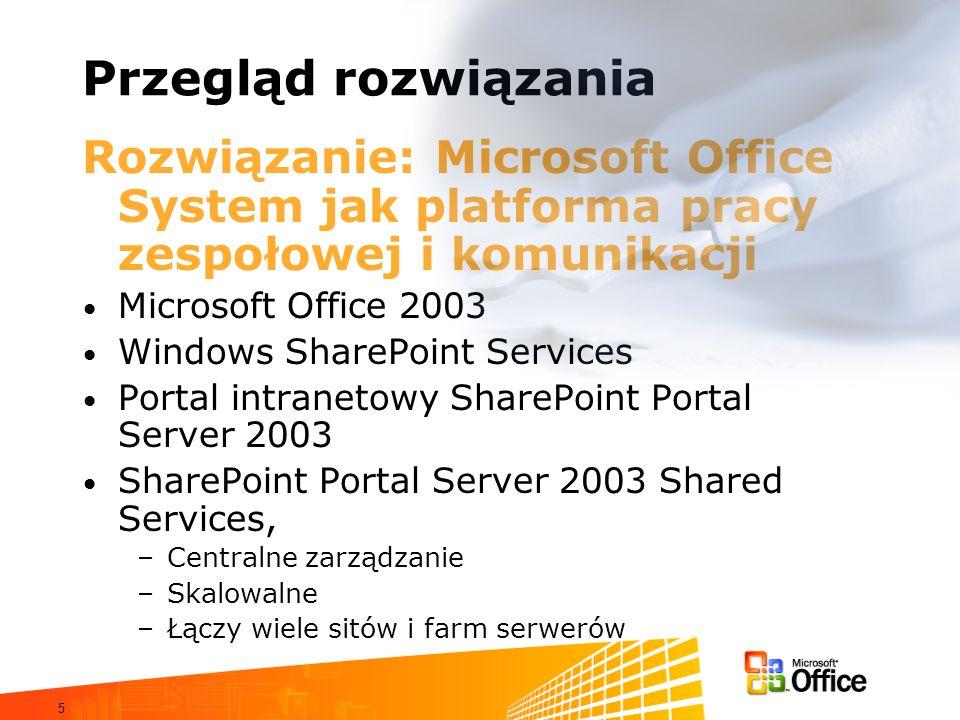 5 Przegląd rozwiązania Rozwiązanie: Microsoft Office System jak platforma pracy zespołowej i komunikacji Microsoft Office 2003 Windows SharePoint Serv