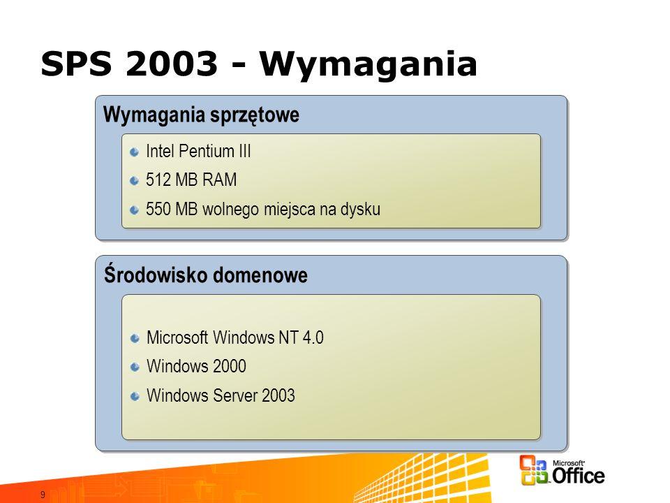 9 SPS 2003 - Wymagania Środowisko domenowe Wymagania sprzętowe Intel Pentium III 512 MB RAM 550 MB wolnego miejsca na dysku Intel Pentium III 512 MB R