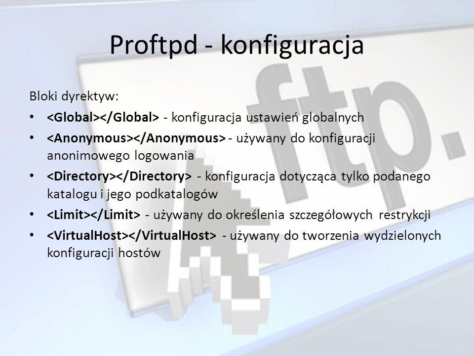 Bloki dyrektyw: - konfiguracja ustawień globalnych - używany do konfiguracji anonimowego logowania - konfiguracja dotycząca tylko podanego katalogu i