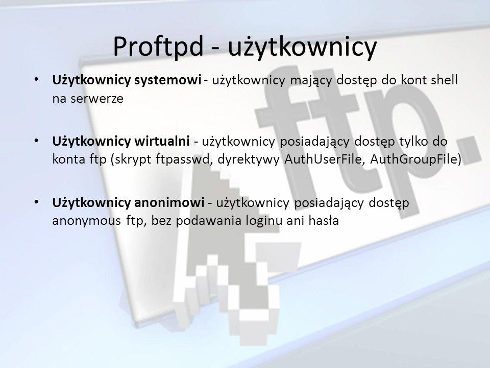 Proftpd - użytkownicy Użytkownicy systemowi - użytkownicy mający dostęp do kont shell na serwerze Użytkownicy wirtualni - użytkownicy posiadający dost