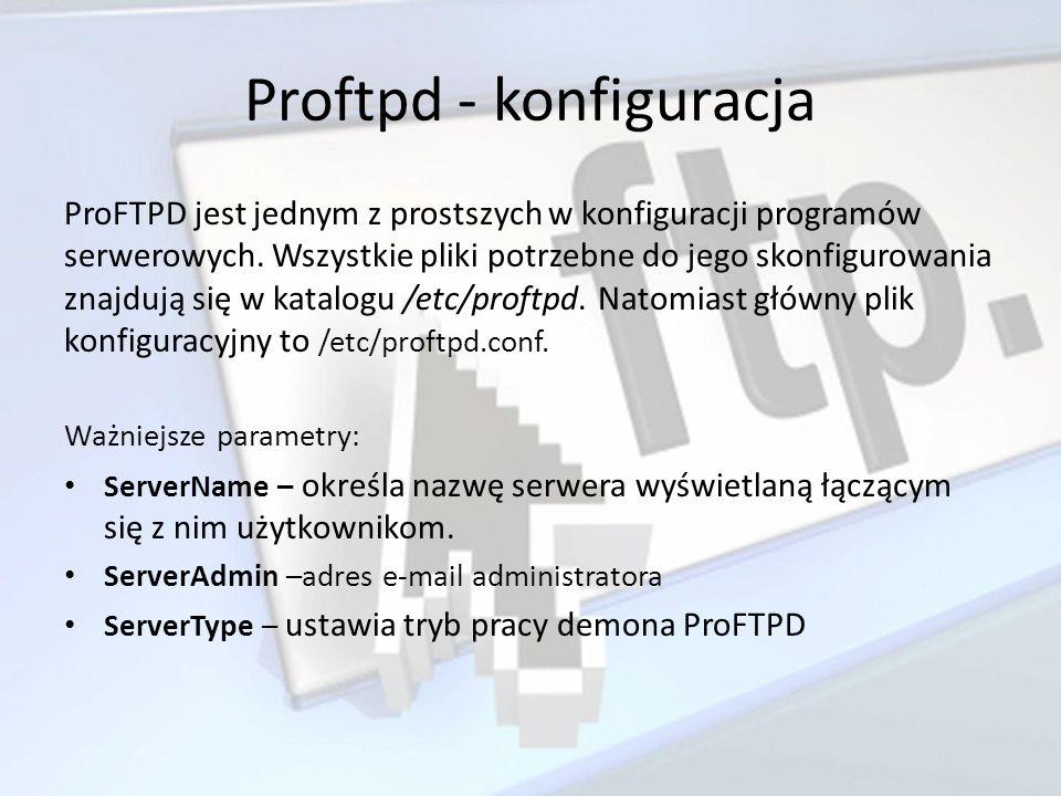 Proftpd - konfiguracja ProFTPD jest jednym z prostszych w konfiguracji programów serwerowych. Wszystkie pliki potrzebne do jego skonfigurowania znajdu