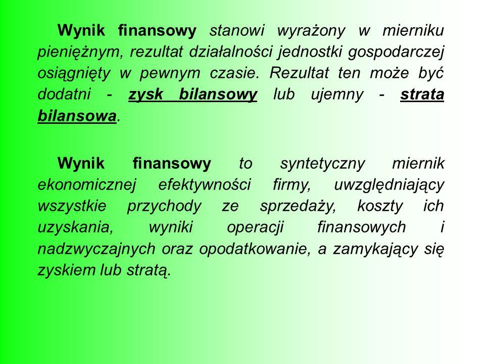 Wynik finansowy stanowi wyrażony w mierniku pieniężnym, rezultat działalności jednostki gospodarczej osiągnięty w pewnym czasie. Rezultat ten może być