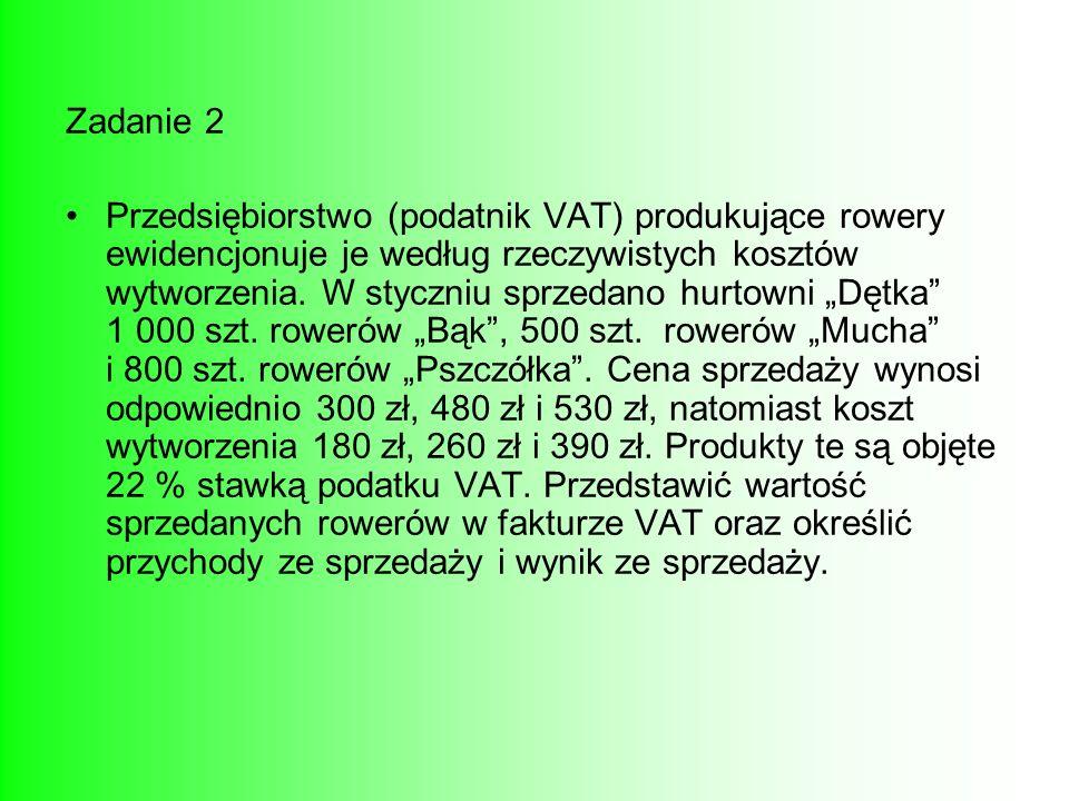 Zadanie 2 Przedsiębiorstwo (podatnik VAT) produkujące rowery ewidencjonuje je według rzeczywistych kosztów wytworzenia. W styczniu sprzedano hurtowni