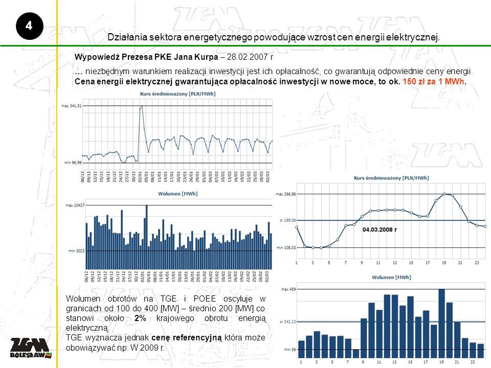 Działania sektora energetycznego powodujące wzrost cen energii elektrycznej.