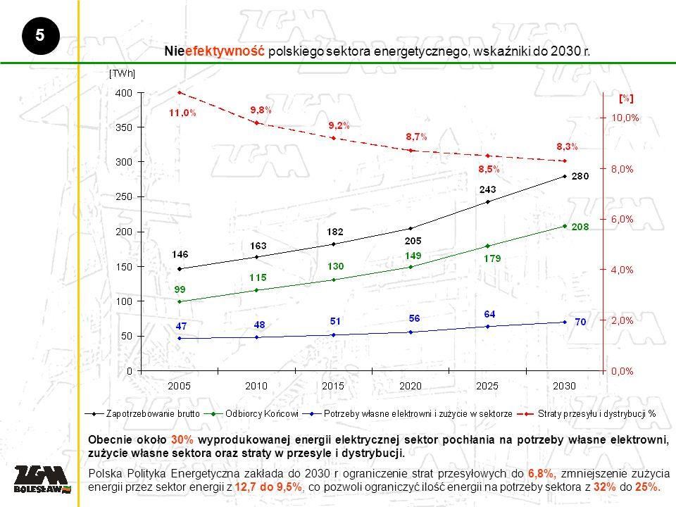 Nieefektywność polskiego sektora energetycznego, wskaźniki do 2030 r.
