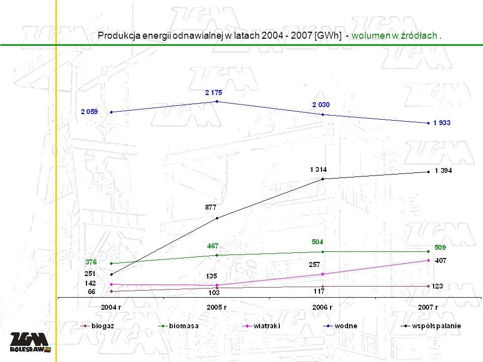 Produkcja energii odnawialnej w latach 2004 - 2007 [GWh] - wolumen w źródłach.