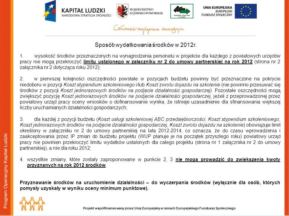 Projekt współfinansowany przez Unię Europejską w ramach Europejskiego Funduszu Społecznego Sposób wydatkowania środków w 2012r.