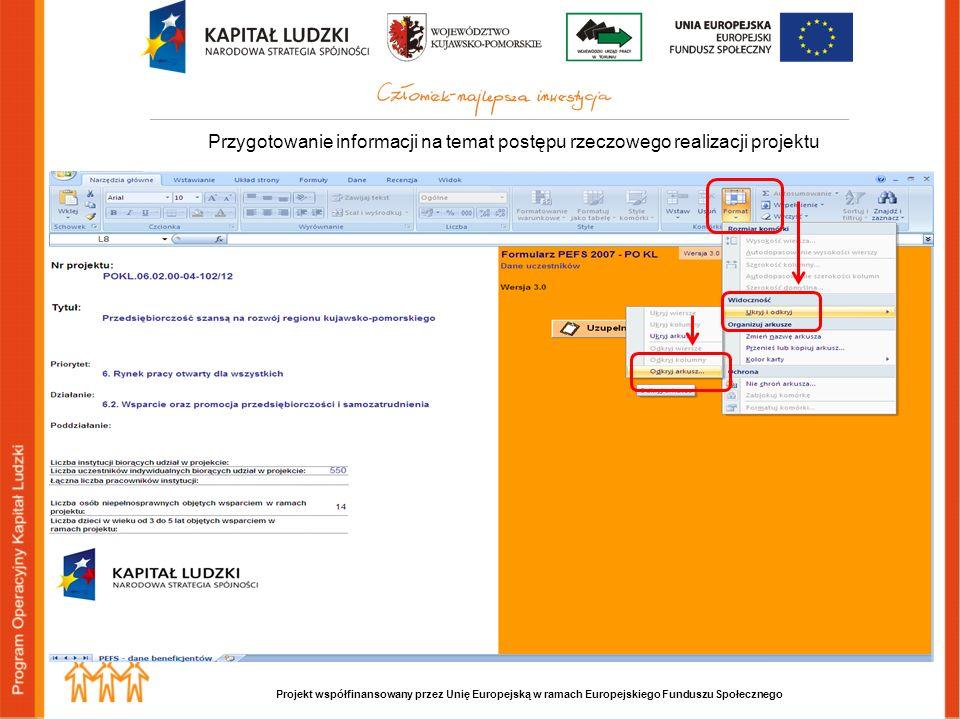 Projekt współfinansowany przez Unię Europejską w ramach Europejskiego Funduszu Społecznego Przygotowanie informacji na temat postępu rzeczowego realizacji projektu
