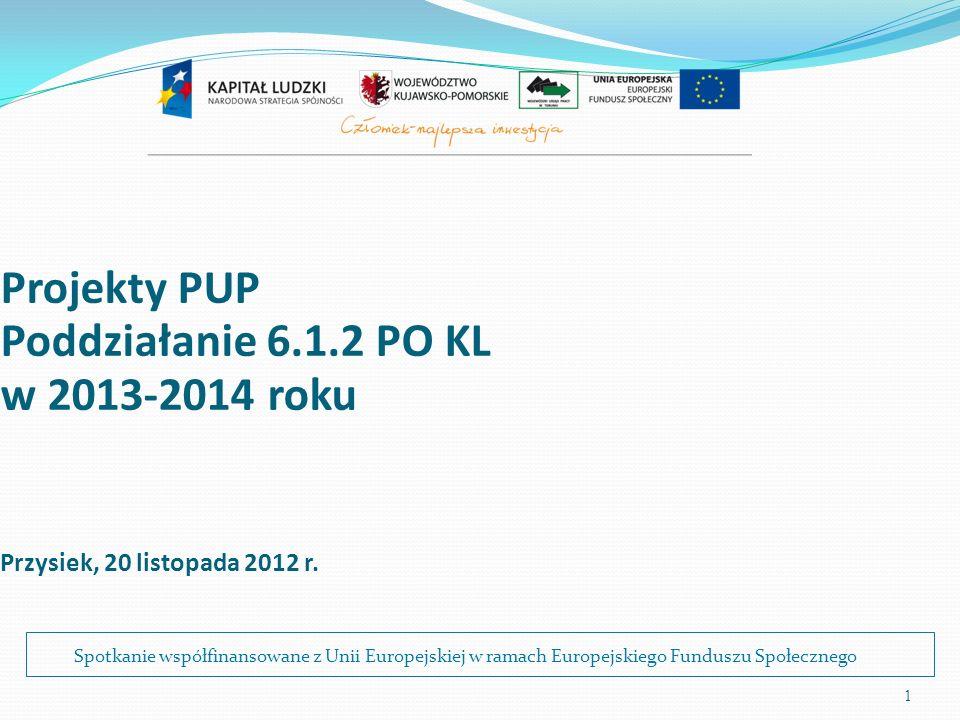 1 Projekty PUP Poddziałanie 6.1.2 PO KL w 2013-2014 roku Przysiek, 20 listopada 2012 r. Spotkanie współfinansowane z Unii Europejskiej w ramach Europe