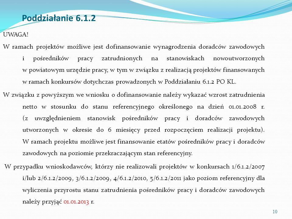 10 Poddziałanie 6.1.2 UWAGA! W ramach projektów możliwe jest dofinansowanie wynagrodzenia doradców zawodowych i pośredników pracy zatrudnionych na sta