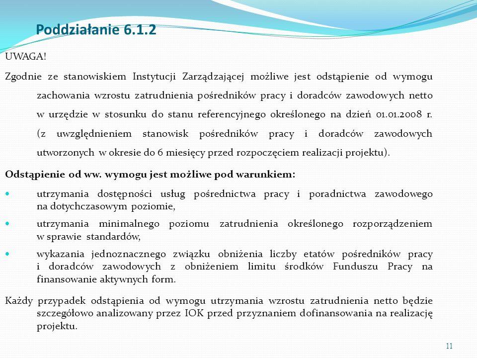11 Poddziałanie 6.1.2 UWAGA! Zgodnie ze stanowiskiem Instytucji Zarządzającej możliwe jest odstąpienie od wymogu zachowania wzrostu zatrudnienia pośre