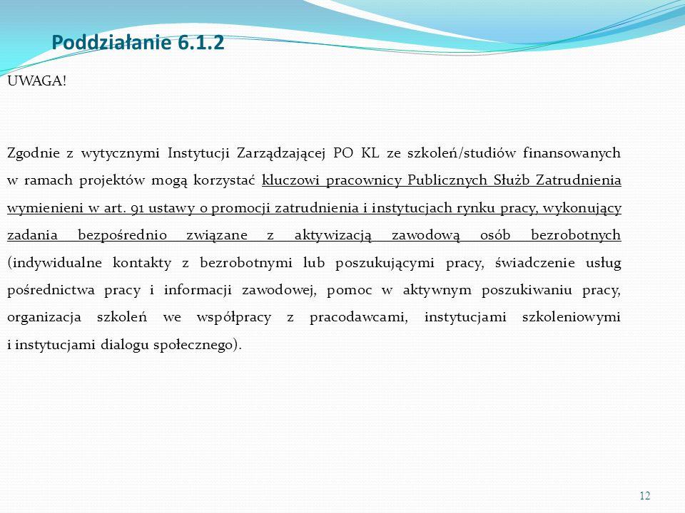12 Poddziałanie 6.1.2 UWAGA! Zgodnie z wytycznymi Instytucji Zarządzającej PO KL ze szkoleń/studiów finansowanych w ramach projektów mogą korzystać kl