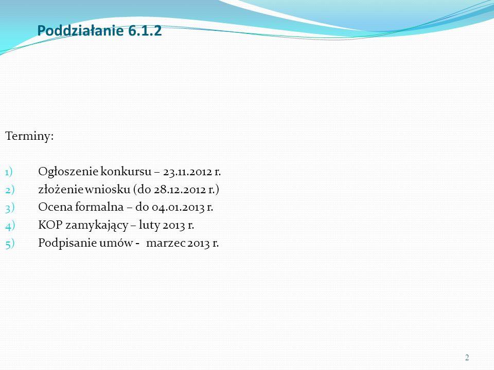 2 Poddziałanie 6.1.2 Terminy: 1) Ogłoszenie konkursu – 23.11.2012 r. 2) złożenie wniosku (do 28.12.2012 r.) 3) Ocena formalna – do 04.01.2013 r. 4) KO