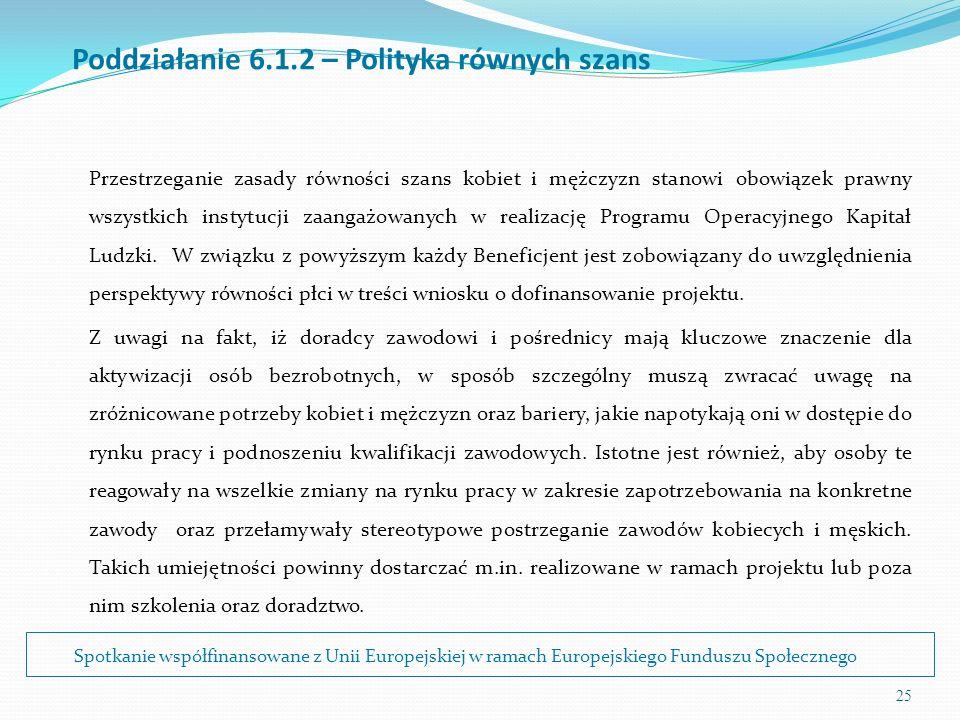 25 Poddziałanie 6.1.2 – Polityka równych szans Przestrzeganie zasady równości szans kobiet i mężczyzn stanowi obowiązek prawny wszystkich instytucji z