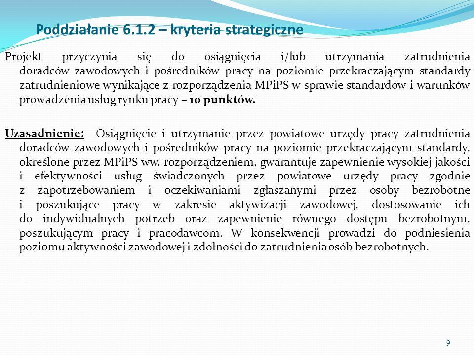 9 Poddziałanie 6.1.2 – kryteria strategiczne Projekt przyczynia się do osiągnięcia i/lub utrzymania zatrudnienia doradców zawodowych i pośredników pra