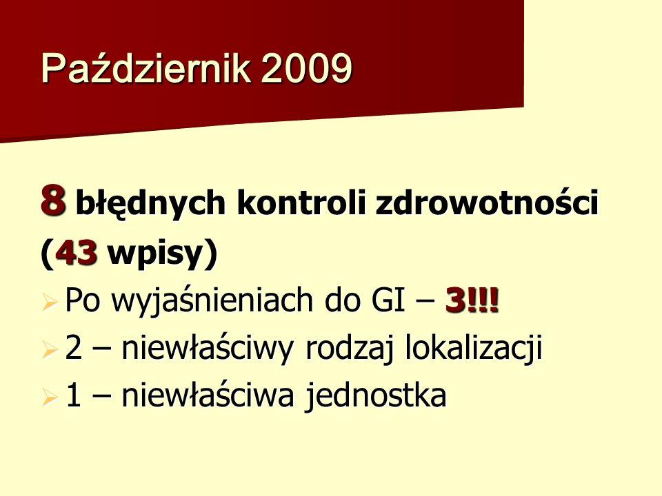 Październik 2009 8 błędnych kontroli zdrowotności (43 wpisy) Po wyjaśnieniach do GI – 3!!.